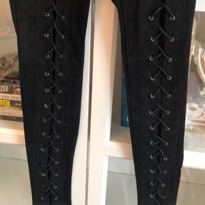 Black suede leggings with lace up detail